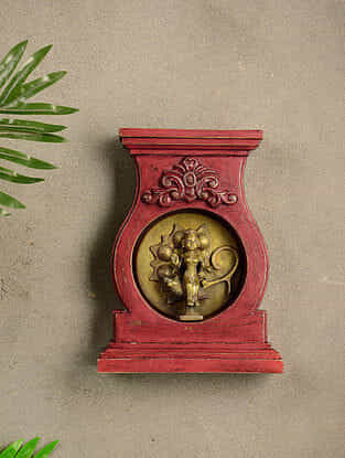 Vintage Wood and Brass Wall Accent (10.6in x 8.1in)