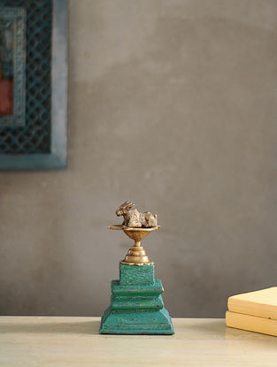 Vintage Inspired Wood and Brass Table Top Accent(L:9.5in, W:6.7in)
