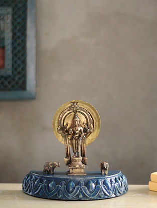 Vintage Inspired Wood and Brass Table Top Accent(L:3.6in, W:3.6in, H:12.5in)