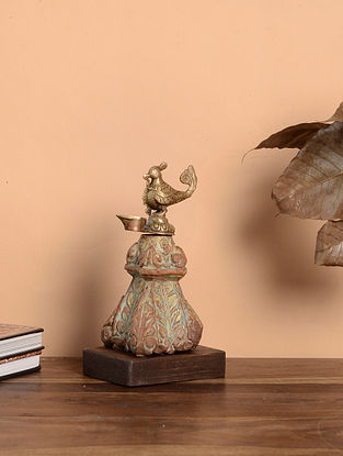 Vintage Inspired Bird with Lamp Wood and Brass Table Top Accent (L:5in x W:3.5in x H:9in)