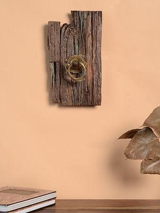 Vintage Inspired Antique Door Knocker Wood and Brass Wall Art (13.3in x 7.5in)