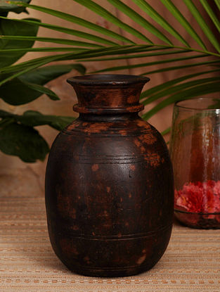 Vintage Inspired Wooden Pot (Dia- 7in X H- 11in)