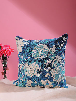 Songs of the Night Flower Indigo Printed and Embroidered Cotton Velvet Cushion Cover (18in x 18in)