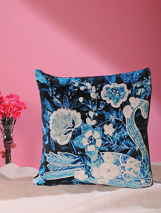 Songs of the Night Swan Indigo Printed and Embroidered Cotton Velvet Cushion Cover (18in x 18in)