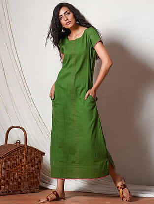 Green Cotton Dress with Pockets