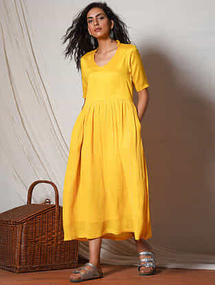 Yellow Gathered Cotton Dress with Pocket