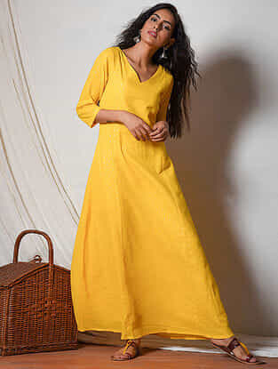 Yellow Cotton Maxi Dress with Pocket