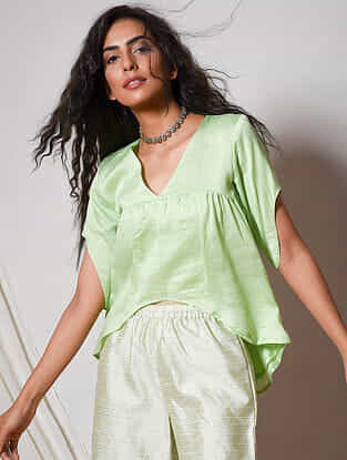 Green Chanderi Top with Asymmetrical Hem