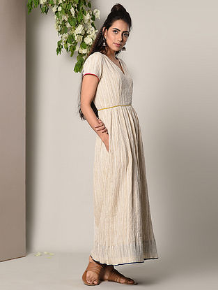 Beige Crinkled Cotton Dress with Lace