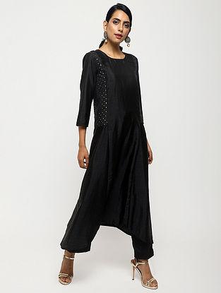 Black Foil-Printed Silk Kurta with Pants (Set of 2)