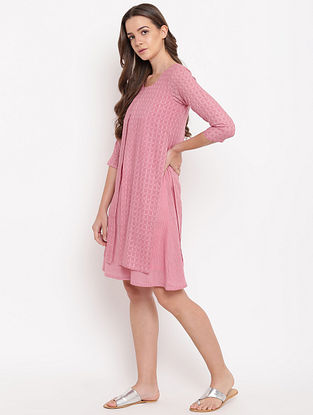 Pink Cotton-Dobby Jacket Dress