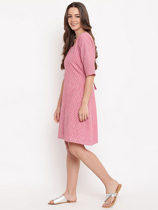 Pink Tie-up Cotton-Dobby Dress