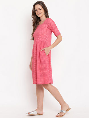 Brick Pink Gathered Cotton-Dobby Dress