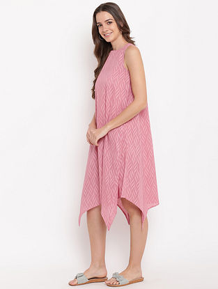 Pink Asymmetric Cotton-Dobby Dress