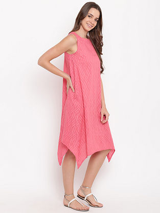 Brick Pink Asymmetric Cotton-Dobby Dress