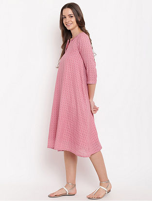 Pink Cotton-Dobby Dress