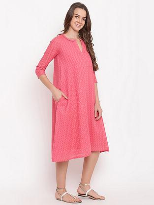 Brick Pink Cotton-Dobby Dress