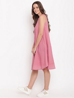 Pink Pintuck Cotton-Dobby Dress