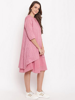 Pink Pintuck Cotton-Dobby Dress with Reveresible Jacket (Set of 2)