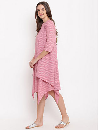 Pink Asymmetric Cotton-Dobby Dress with Reveresible Jacket (Set of 2)