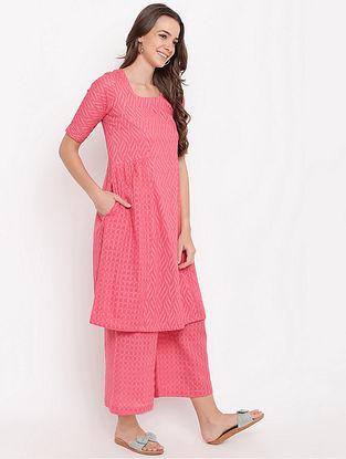 Pink Gathered Cotton-Dobby Kurta with Palazzos (Set of 2)