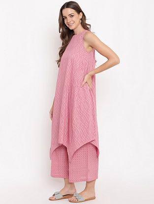 Pink Asymmetric Cotton-Dobby Kurta with Palazzos (Set of 2)
