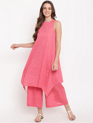 Brick Pink Asymmetric Cotton-Dobby Kurta with Palazzos (Set of 2)
