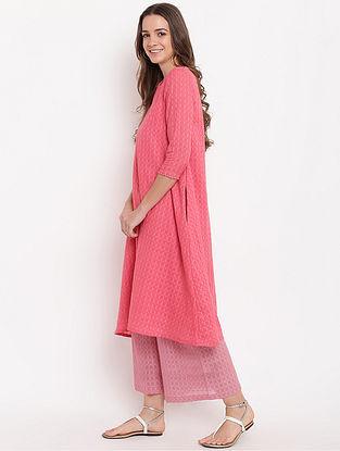 Brick Pink Cotton-Dobby Kurta with Palazzos (Set of 2)