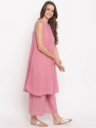 Pink Pintuck Cotton-Dobby Kurta with Palazzos (Set of 2)