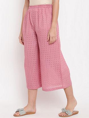 Pink Cotton-Dobby Palazzos