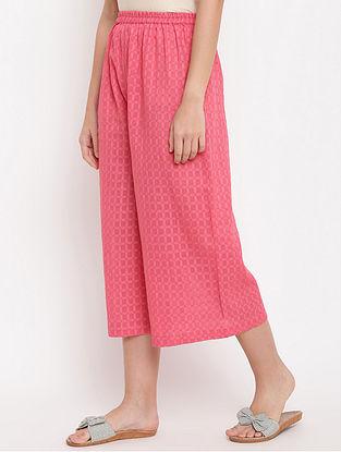 Brick Pink Cotton-Dobby Palazzos