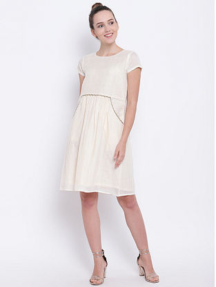 Ivory Gathered Cotton Dress