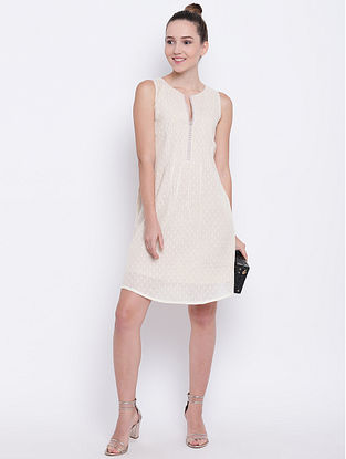Ivory Pintuck Cotton Dress