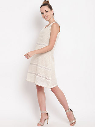 Ivory Panelled Cotton Dress