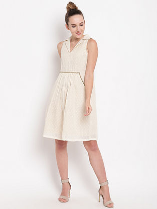 Beige Collared Cotton Dress