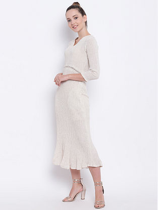 Beige Flared Cotton Dress