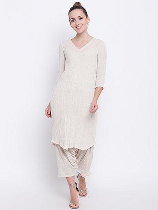 Beige Cotton Kurta with Pants (Set of 2)