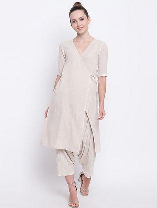 Beige Cotton Angrakha Kurta with Pants (Set of 2)