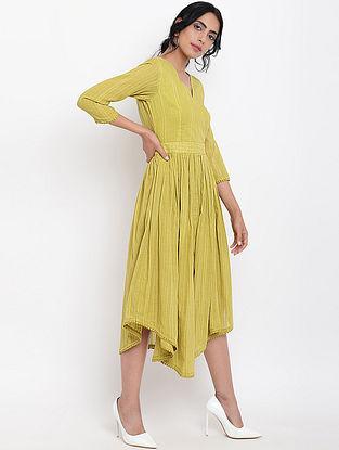 Green Cotton Dobby Dress