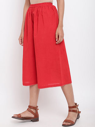 Red Cotton Palazzo with Lace Detailing