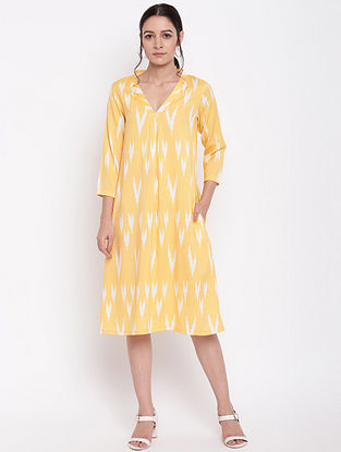 Yellow Cotton Print Dress with Neck Pleats