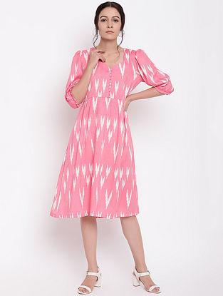 Pink Cotton Print Button Dress