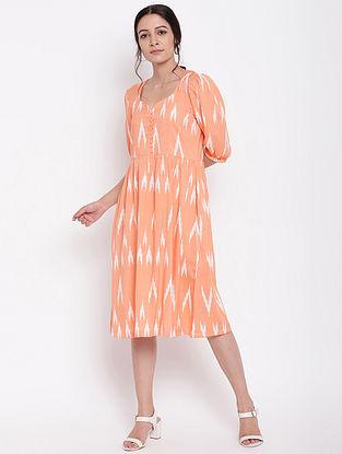 Orange Cotton Print Button Dress