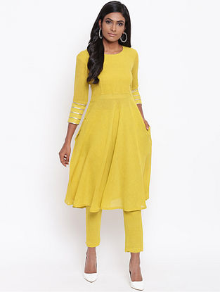 Yellow Cotton Khadi Kurta with Lining and Gota Detailing and Pants (Set of 2)