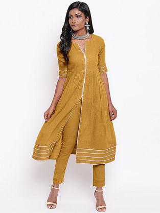 Mustard Cotton Khadi Kurta with Lining and Gota Detailing and Pants (Set of 2)
