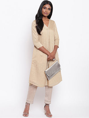 Grey Embroidered Chanderi Kurta with Lining