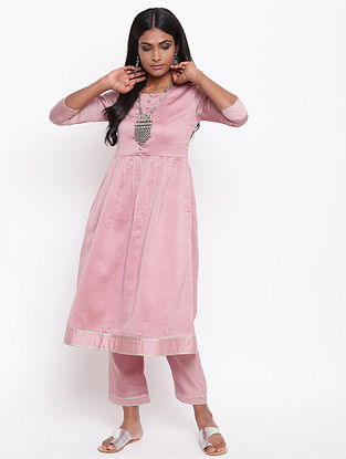 Pink Chanderi Kurta with Gota Details and Lining