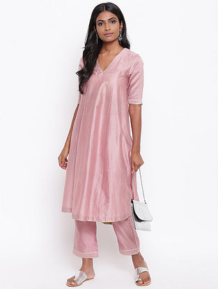 Pink Chanderi Kurta with Gota Details