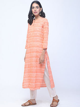 Orange Ikat Handwoven Cotton Kurta