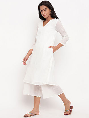 White Crinkled Cotton Kurta with Lining